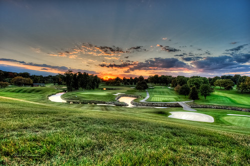 county sunset green grass club clouds river golf rouge oakland birmingham midwest michigan country great detroit lakes course southeast hdr