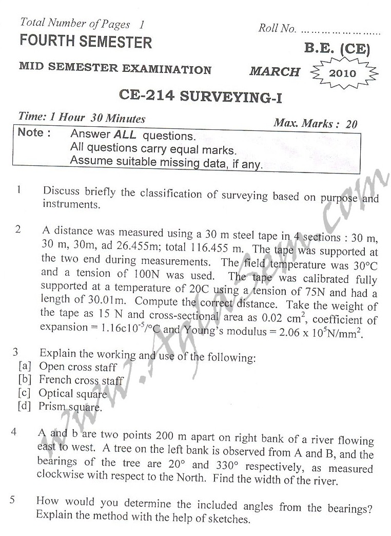 DTU Question Papers 2010 – 4 Semester - Mid Sem - CE-214