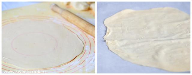 Раскатанный слой теста для торта Наполеон