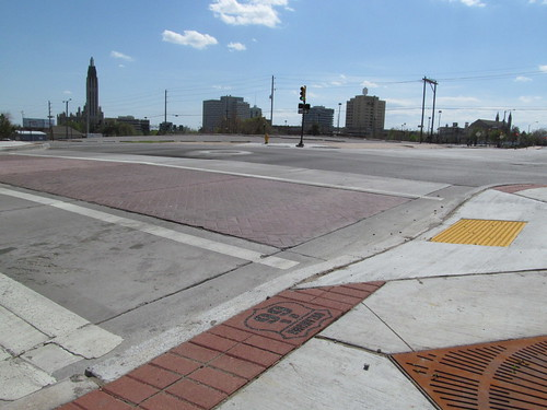 Route 66 pavers in downtown Tulsa, looking southwest across the parking crater, from 10th and Detroit, SX002809