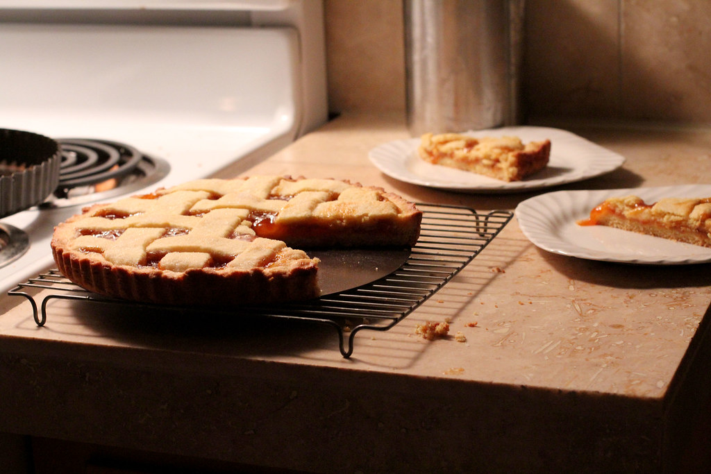 apricot jam crostata, at night