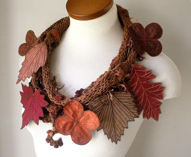 Sienna Leaf Scarf- Brown, Copper, and Red Embroidered Leaves