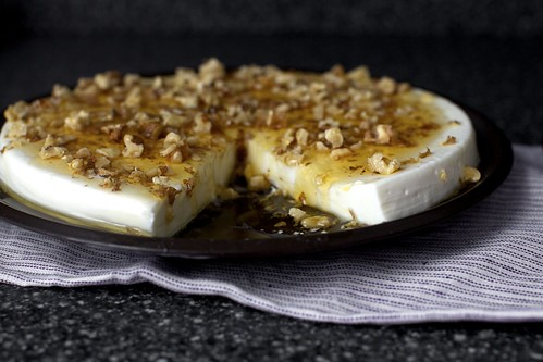 yogurt panna cotta with walnuts and honey
