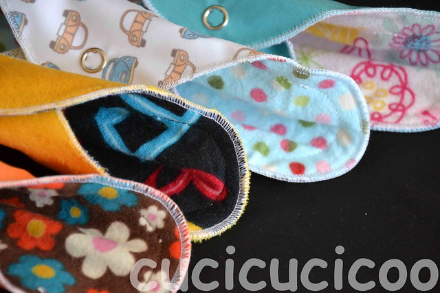 An assortment of colors and designs of cloth pads