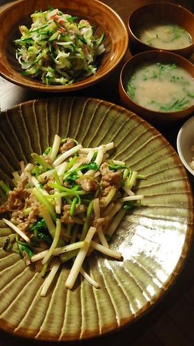豚バラと根三つ葉の炒めもの by nekotano