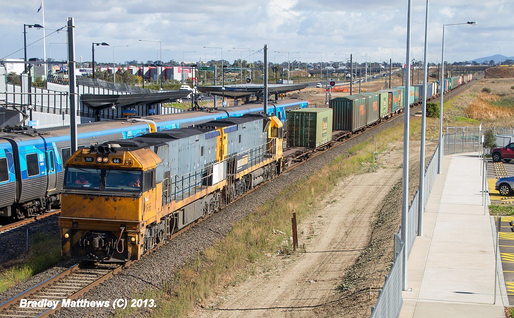 NR66 (V)-NR63 (V) on 3AB6 to Brisbane at Williams Landing (1/5/2013) by Bradley Matthews