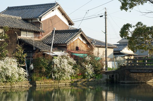bridge sunset house japan river channel yanagawa