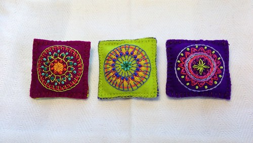 Three Little Embroidered Mandalas by MagaMerlina