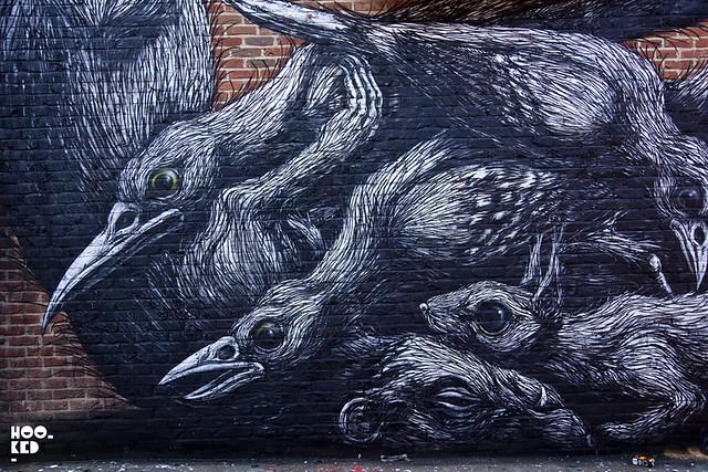 Roa - London Street Art Mural near Bethnal green Station