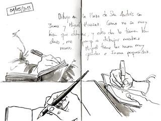 Las manos de 3 dibujantes