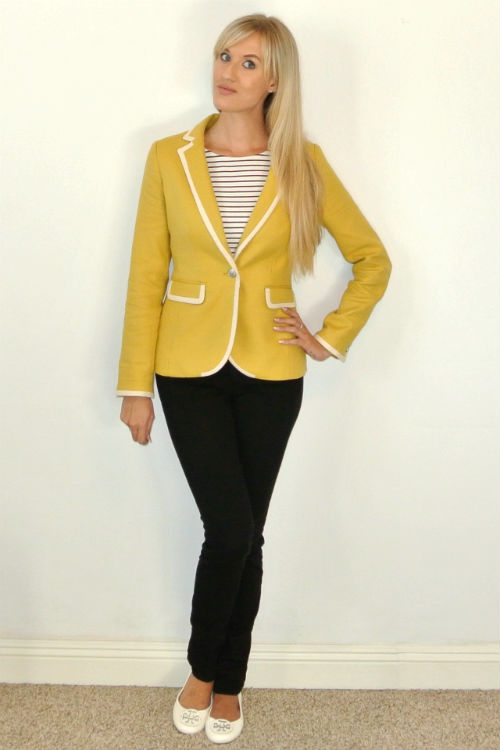 Outfit: yellow blazer and stripes