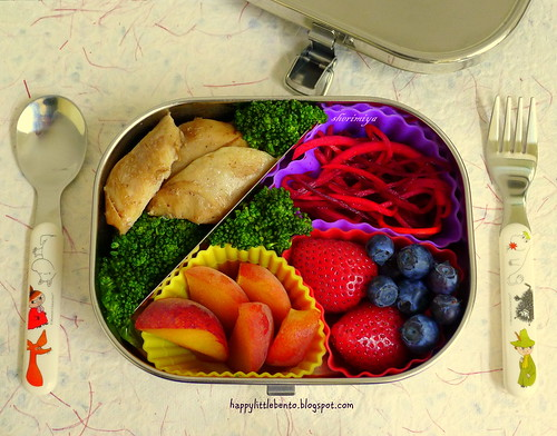 Chicken and Broccoli with Beet Slaw Bento by sherimiya ♥