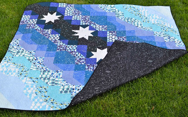 constellations quilt with backing
