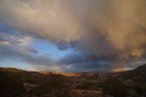 sunset mountains newmexico clouds desert sage rainbows juniper embudo embudovalley