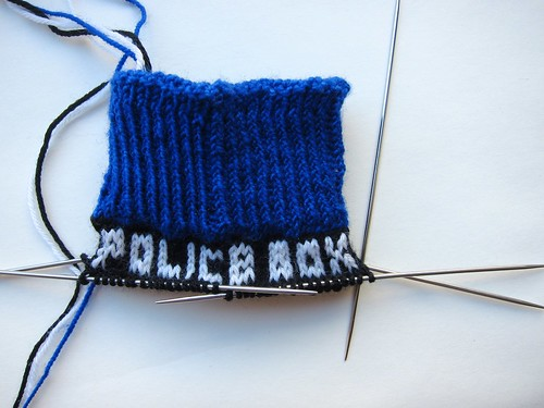 TARDIS sock progress