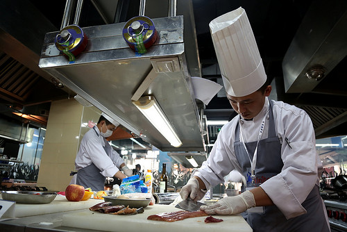 "Chefs prepare dishes using Alaskan seafood during the Shanghai preliminary competition Mar. 6-8, 2013.  The ""United Tastes of America – Asian Chef Challenge"" competitions aim to promote U.S. products among the food service sectors and consumers in these Asian markets as well as highlight the skills of creative Asian chefs. (Courtesy Photo)"