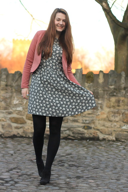 OOTD, outfit of the day, pink blazer, black floral dress, studded boots