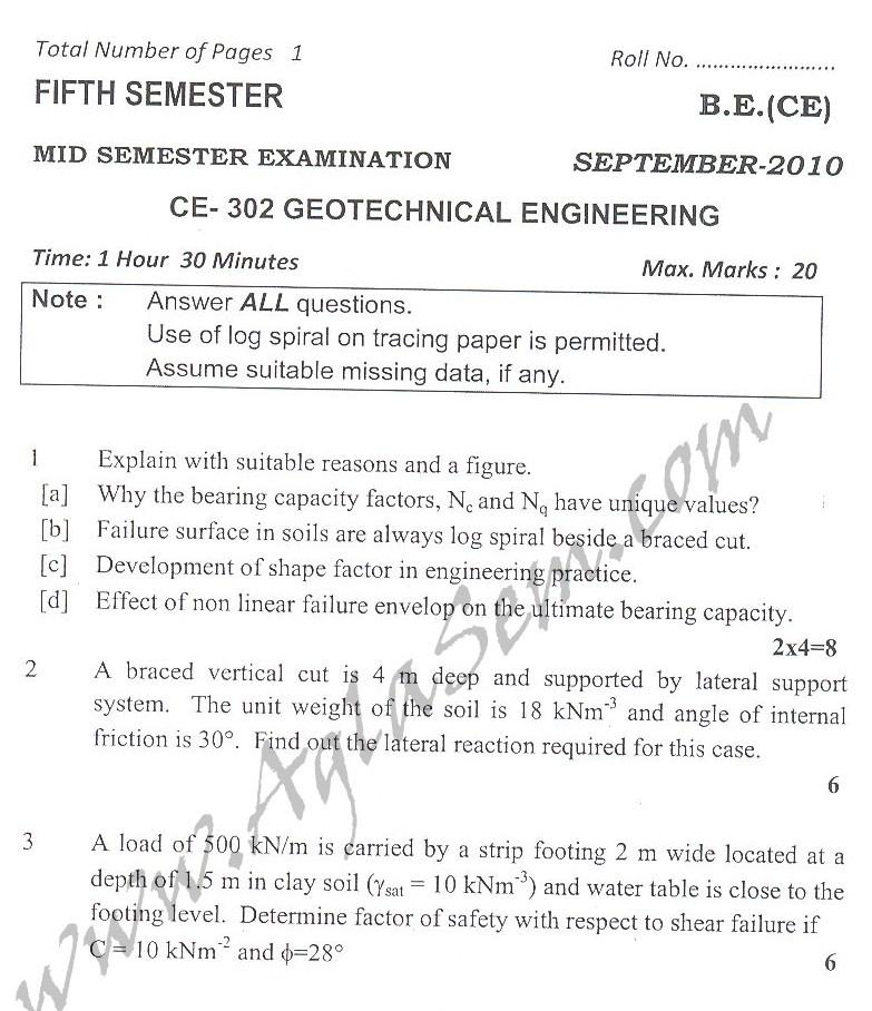 DTU Question Papers 2010 – 5 Semester - Mid Sem - CE-302