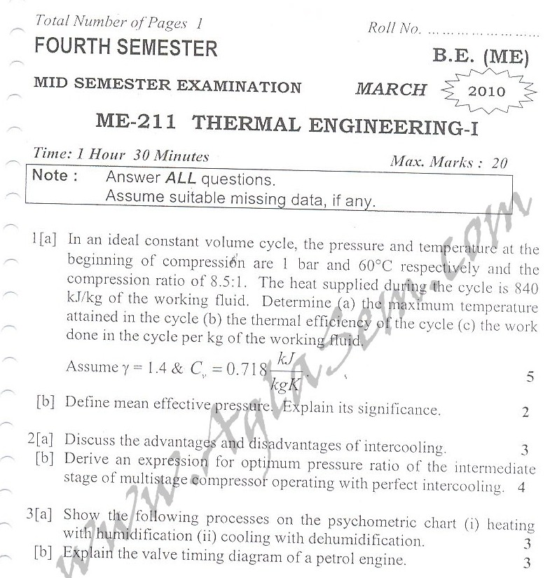 DTU Question Papers 2010 – 4 Semester - Mid Sem - ME-211