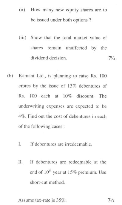 DU SOL B.Com. Programme Question Paper - Financial Management - Paper XVI