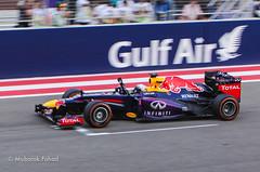 Vettel crossing the final line