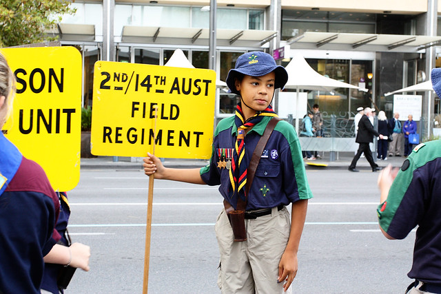 Holding the banner for the 2nd/14th Australian Field Regiment