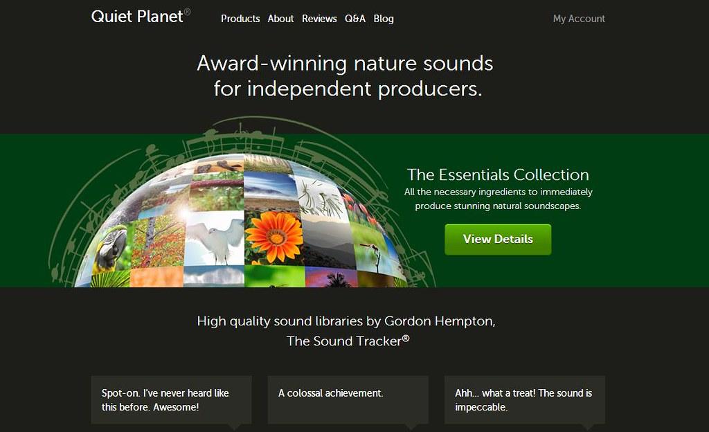 戈登建構的自然聲境圖書館:寂靜星球首頁。人們可以在此以極平價的方式購買、使用他在全世界各地錄到的自然之聲,而這些經費將回饋到孕育荒野之聲的棲地環境保育計畫。圖片來源:寂靜星球
