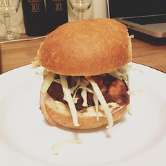 Homemade fried chicken burgers with spicy slaw! #chicken #food #vsco #vscocam