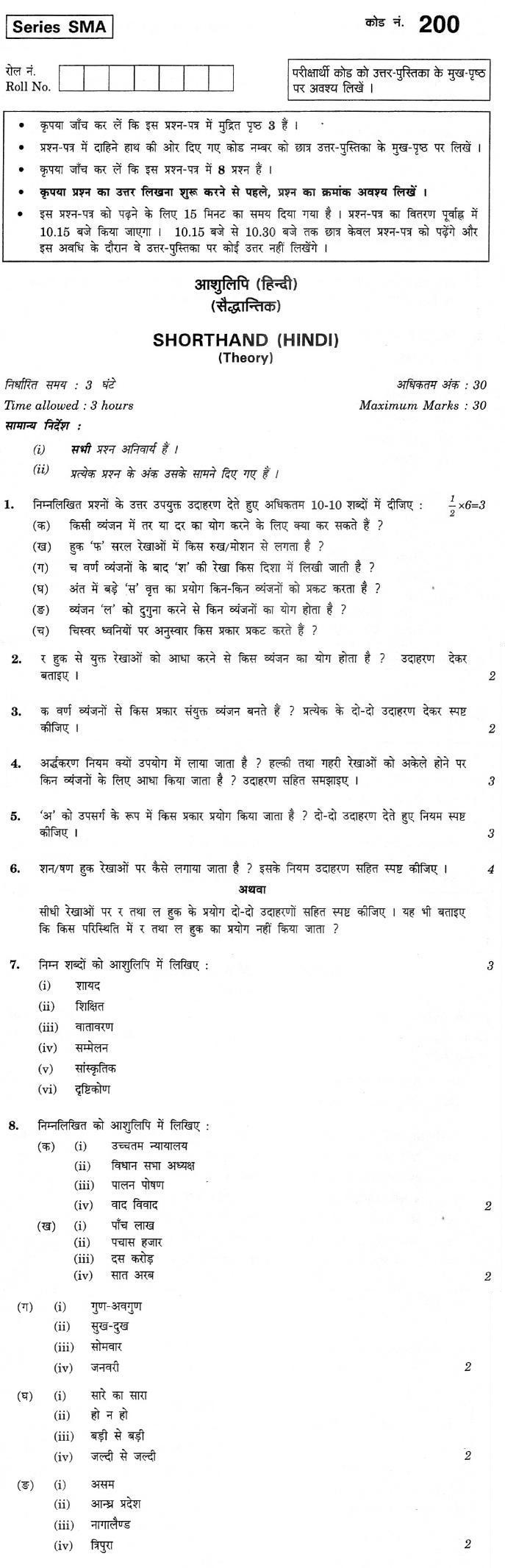 CBSE Class XII Previous Year Question Paper 2012 Shorthand (Hindi)