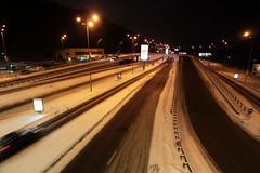 Freeway passes beneath Dnipro (Днiпро) station