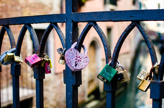 Love locks on a Venetian Bridge.
