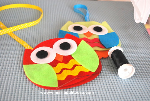 Felt Baby owls !! Ric Rac belly Owls :) by Mariapalito