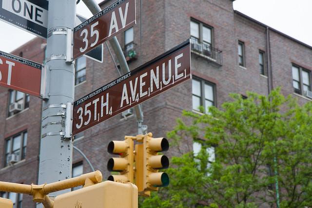 Scrabble street sign, Jackson Heights