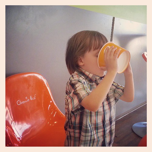 At Orange Leaf. I think he likes it..