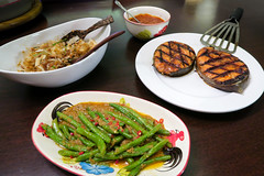 Grilled Sambal Salmon Steaks, Spicy Long Beans and…