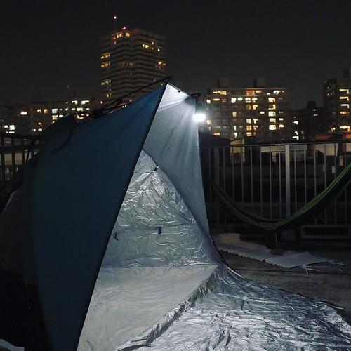 ついでにテントも立てて、アーバンキャンプとなりました。家族でビンゴとUNOやった。