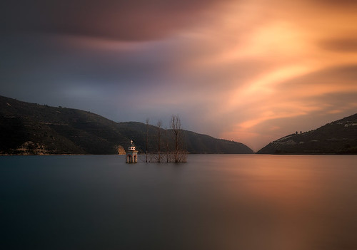 sunset sky church water clouds nikon long exposure dam cyprus flooded drowned tomasz kouris huczek alassa hateom