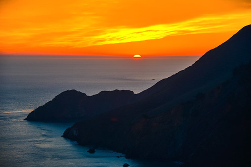 Sunset over the Pacific Ocean with Marin Headlands - San Francisco California