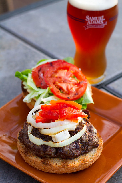 Brie Burgers with Samuel Adams