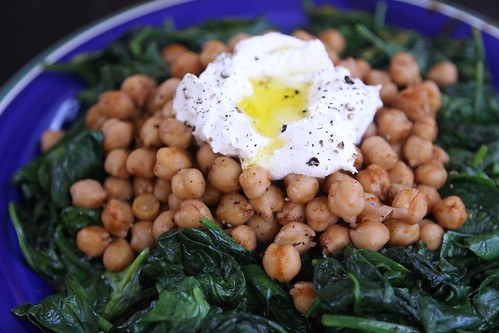 Wilted Spinach with Spicy Garbanzo Beans and Labne