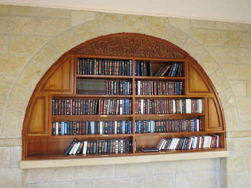 Bookshelves in men's section of the Western<br /><br /> Wall