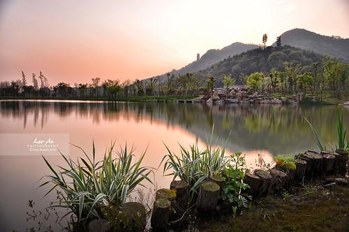 china trees sunset plants lake tower reflections landscape pagoda nikon smooth hills foliage shore nd hangzhou d800 zhejiang xiaoshan xianghu photonmix laoanphotography