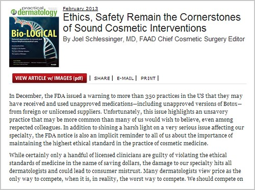 Joel Schlessinger MD discusses the importance of ethics and safety in cosmetic dermatology