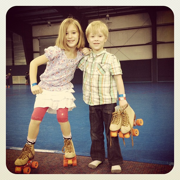 Their first try at roller skating. Katie-A was amazing at it and had a LOT of fun. Josiah completely freaked out.  (from yesterday)