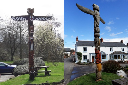 ... totem pole at ' CULM VALLEY INN', Culmstock, Devon.