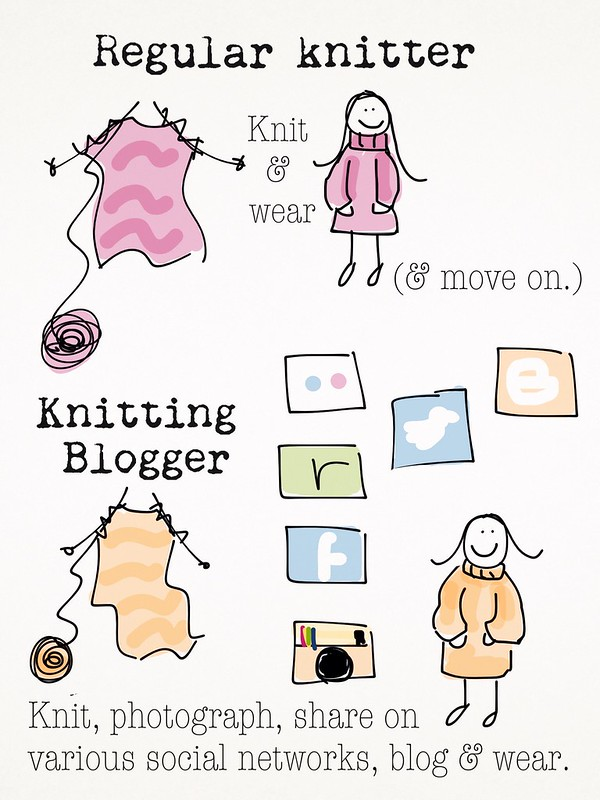 KCBW day 3 - info graphic comparing a regular knitter with a knitting blogger.