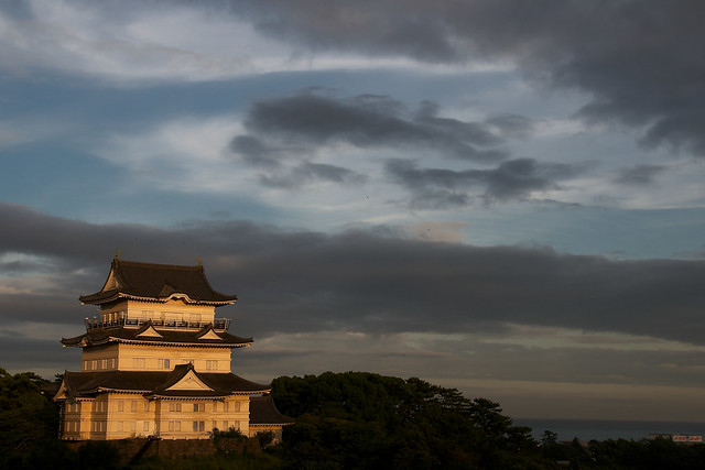 Odawara Castle at sunset