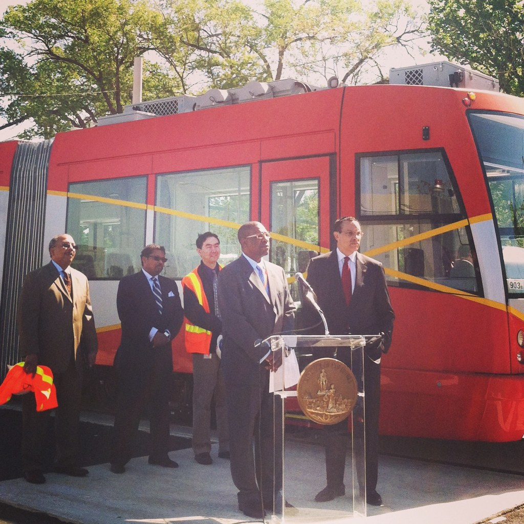 DDOT Director Terry Bellamy and Mayor Vincent C. Gray discussing DC Streetcar