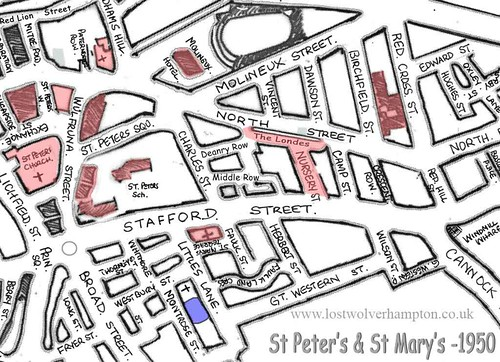 Map showing the area around St Mary's in 1950.