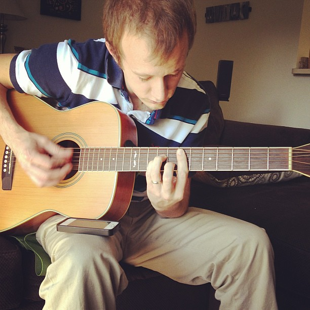 The birthday boy doing what he loves most. #birthday #happy #music #guitar #husband